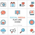 [Freebie] Social Media Flat Line Icon Set: 33 Icons, PNG, PSD, SVG, AI, EPS