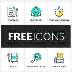 [Freebie] Freelance Flat Line Icon Set: 37 Icons, PNG, SVG, AI, EPS