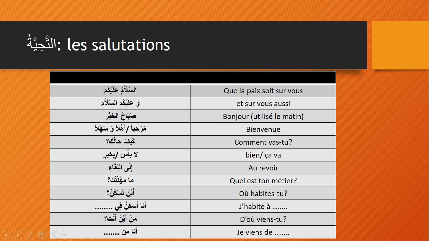 Les salutations vocabulaire arabe pdf