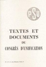 Couverture Textes du Congrès d'unification, Nelle Ed, Avril 2010