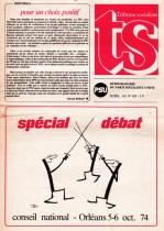 Couverture Tribune Socialiste N°629, supplément 28 Septembre 1974