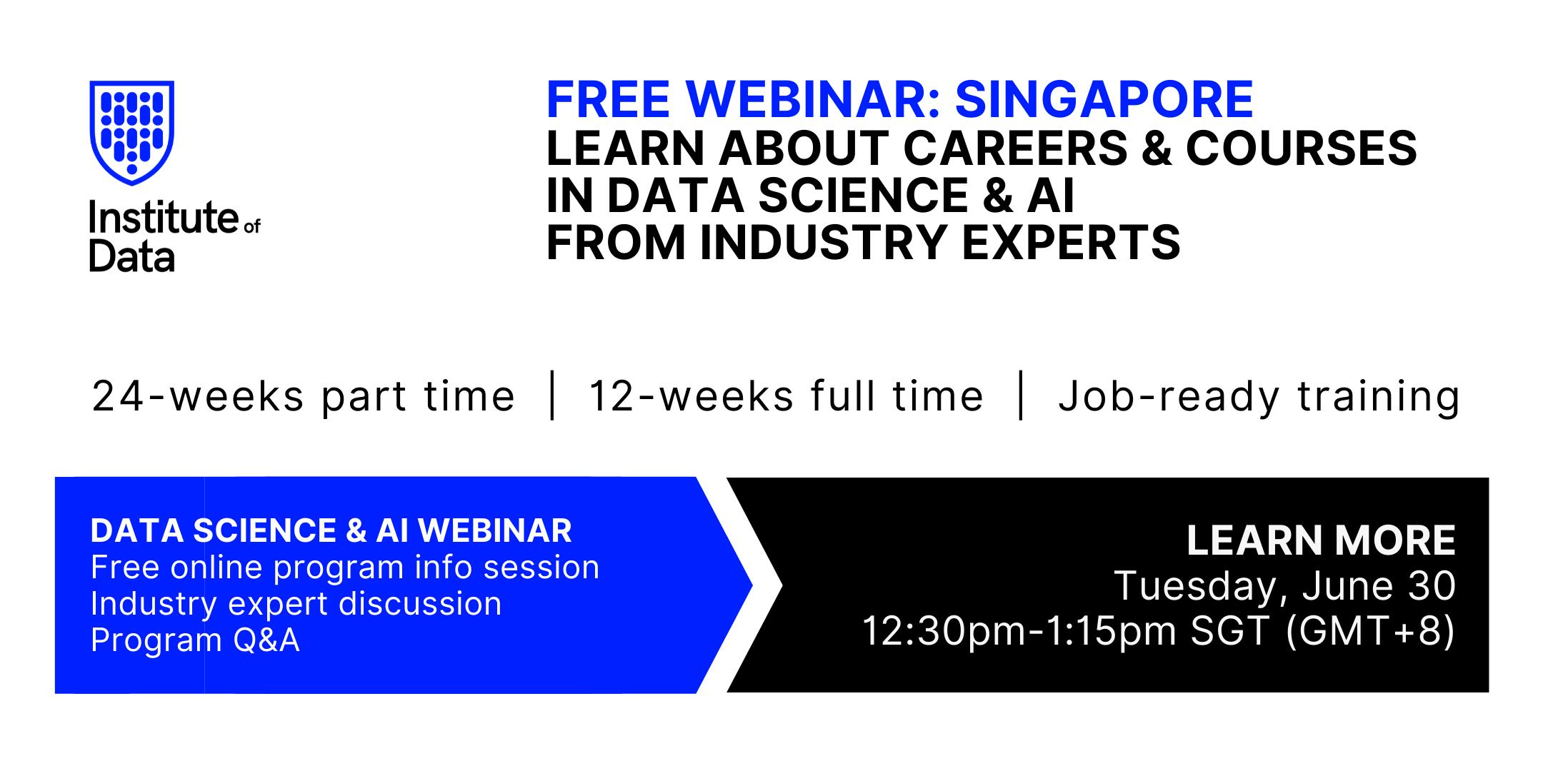 Institute of Data Singapore - Data Science Program - Online Info Session - June 30