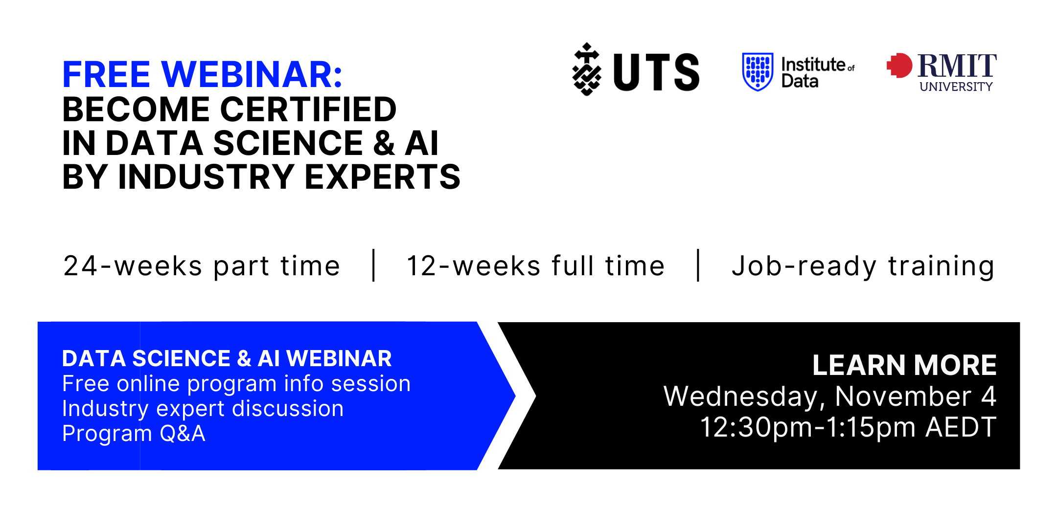 Institute of Data RMIT UTS - Data Science Program - Online Info Session - November 4 2020