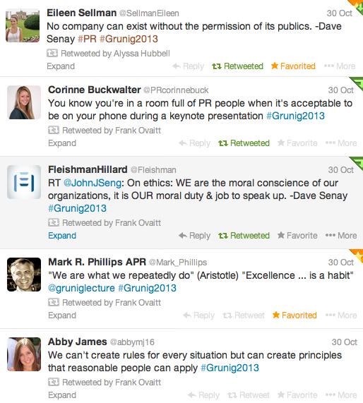 2013 Grunig Lecture Tweets
