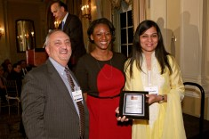 David Rockland, Ketchum, with Jocelyn Jackson, Ketchum, and KEPRRA winner Sarab Kochhar, University of Florida