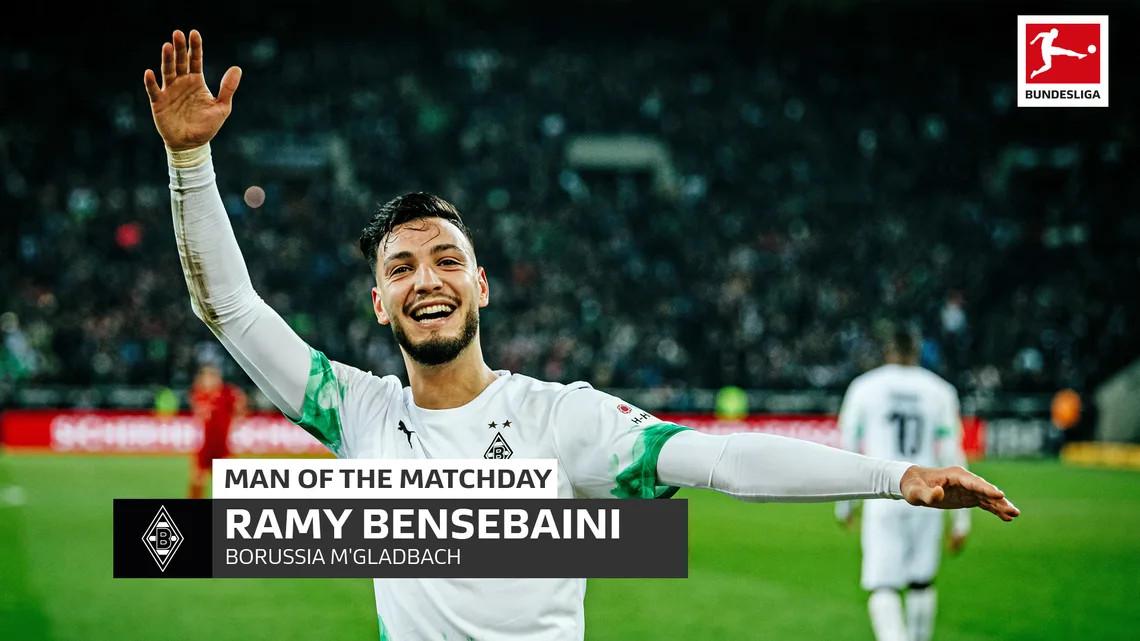 Ramy Bensebaini de jmg soccer homme du match historique de la Bundesliga