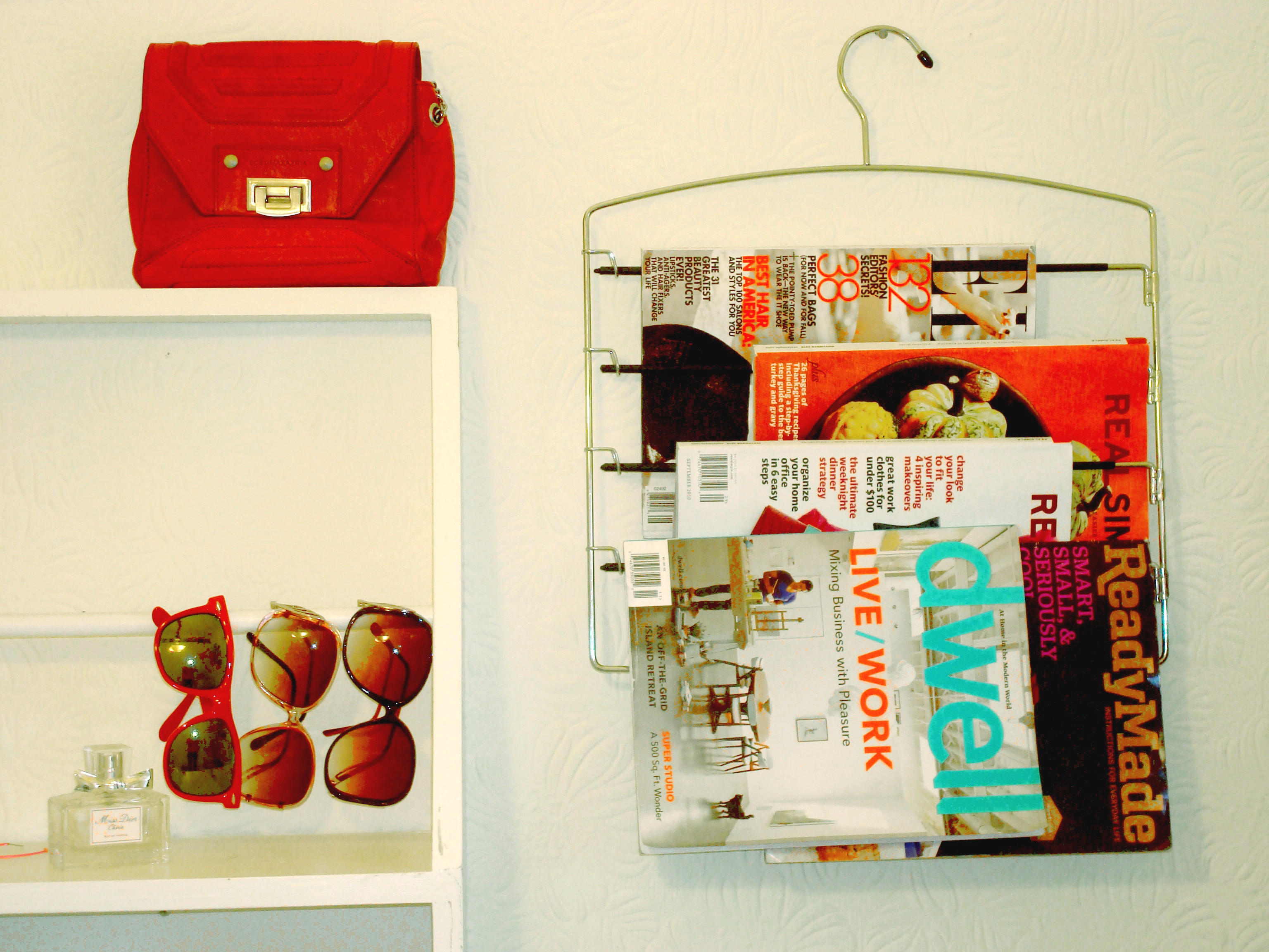 hanging magazine rack with pictures