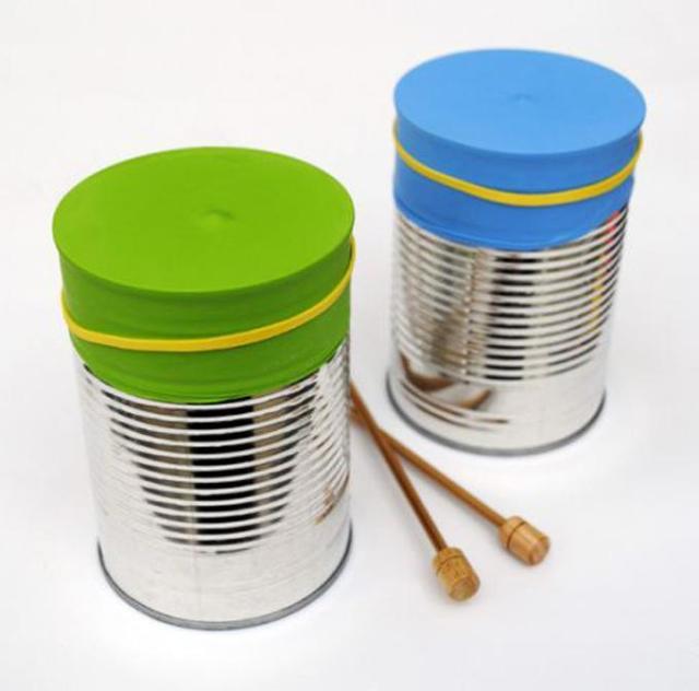 Fabricar instrumentos caseros: Batería con latas
