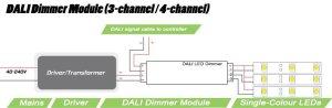 Multichannel DALI dimmer module   4 x 5 amp output