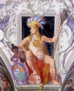 Guacanagari, cacicco di Haiti, tra i personaggi principali della Colombiade di Pedevilla, ritratto da Lazzaro Tavarone (Genova, Palazzo DE ferrari – Chiavari, oggi Belimbau)