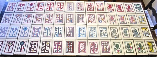 Come, quando, fuori, piove mazzo di carte (recto), xilografie, 2020