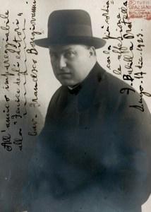 Photograph of Francesco Balilla Pratella with dedication to Francesco Bongiovanni, Lugo 1923