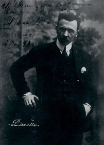 Photograph of Ildebrando Pizzetti with dedication to Francesco Bongiovanni, Bologna 1925