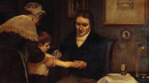 Edward Jenner mentre vaccina un bambino contro il vaiolo, dipinto del 1796