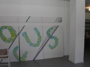 Tomaso Binga, Locus, 1995-2021, installation view (particolare), acrilico su tela, 225 x 1000cm. Courtesy Fondazione Filiberto e Bianca Menna / Archivio Menna/Binga (Roma).