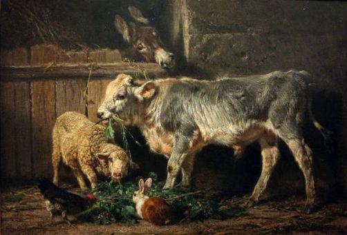 Gli amici, stalla, 1872, Olio su tela