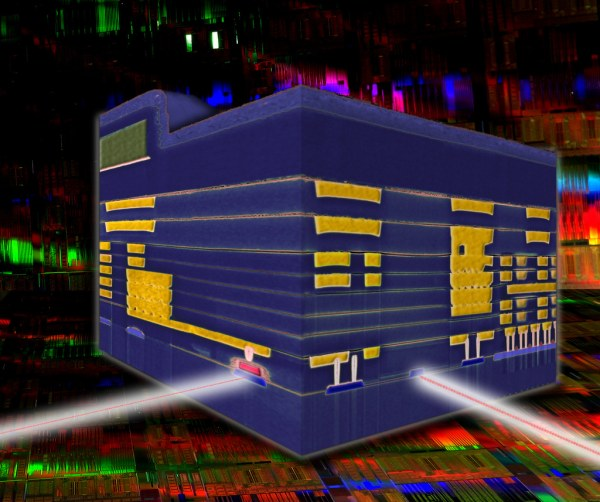 Cross-sectional view of an IBM Silicon Nanophotonics chip combining optical and electrical circuits