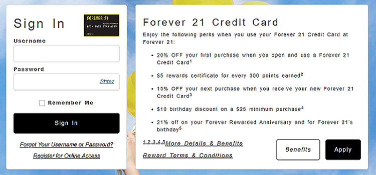 Forever 21 Credit Card Login