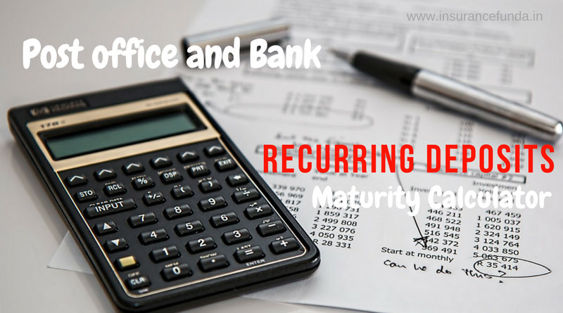 rd calculator - Post office and bank recurring deposit RD Maturity calculator