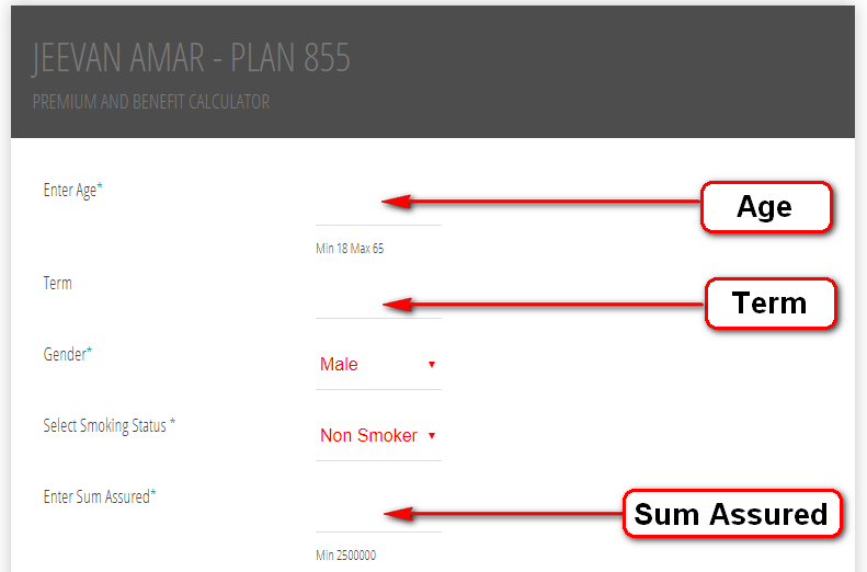 LIC's Jeevan Amar calculator - plan 855 Premium and benefit online calculator