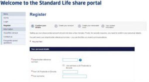 Sign Up Standard Life share portal
