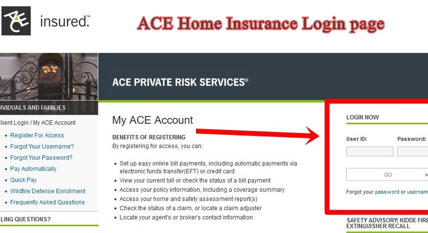ACE Home Insurance Login