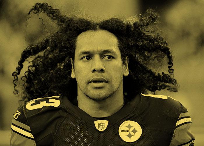NFL Steeler Troy Polamalu with his long Samoan locks