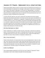 Insurance 101 – Replacement Cost vs Actual Cash Value
