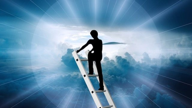 Business Success ladder in cloud sky image