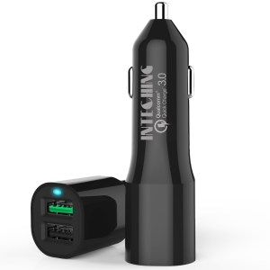 InTeching V1 Quick Charge 3.0 Rapid Car Charger with Micro USB Cable (Black)