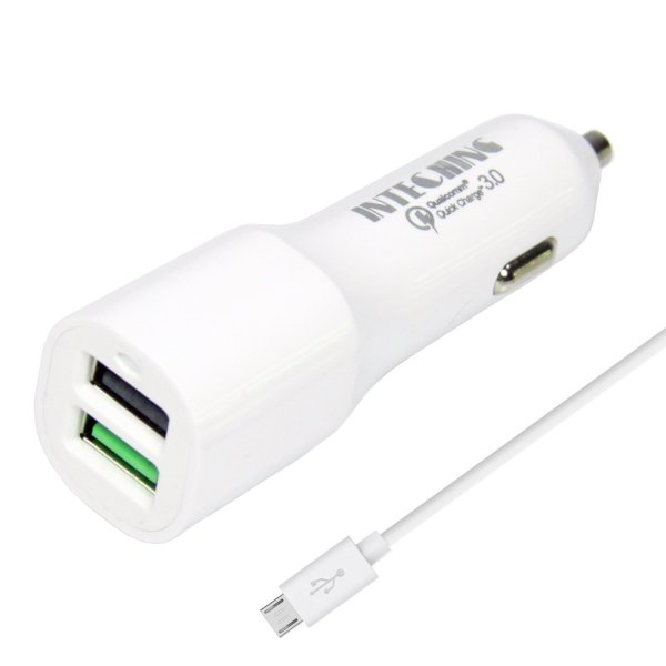 InTeching V1 Quick Charge 3.0 Rapid Car Charger with Micro USB Cable (White)