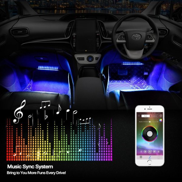 InTeching APP Control Bluetooth Music Atmosphere LED Strip Lights for Cars