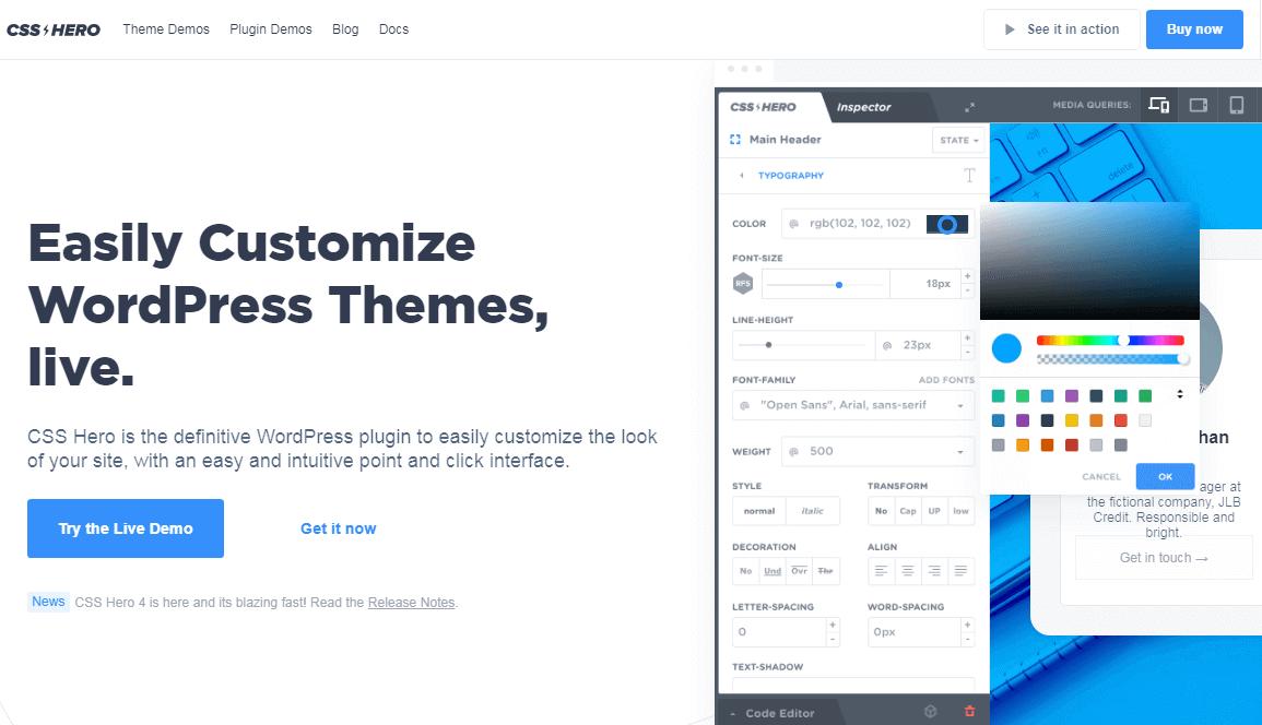 custom CSS hero