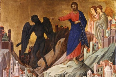 """The Temptation of Christ on the Mount"" (detail) Duccio di Buoninsegna"