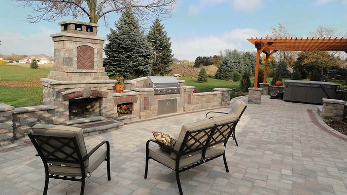Built-in Grill & Fireplace in Franklin, WI by Integrity Landscape