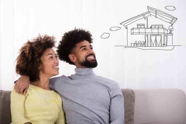 black couple thinking about dream house in ghana
