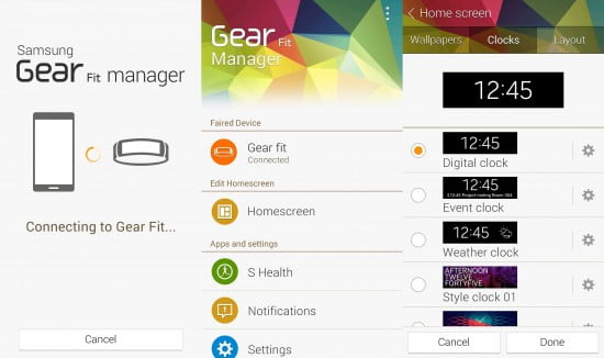 Gear Fit  manager, software que faz o sincronismo inicial