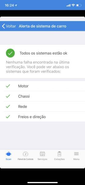 Tela de checklist do carro ao installar o Engie