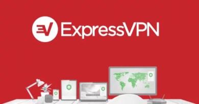 Tela da ExpressVPN apresentando seus recursos