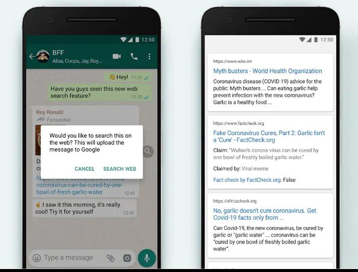 Как использовать функцию поиска в Интернете в WhatsApp