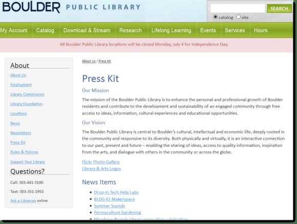 Boulder Public Library press kit marketing example