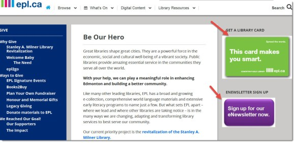 Edmonton Public Library - Calls to Action on Support page