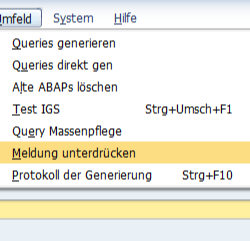 SAP BEx Query Meldungen unterdruecken