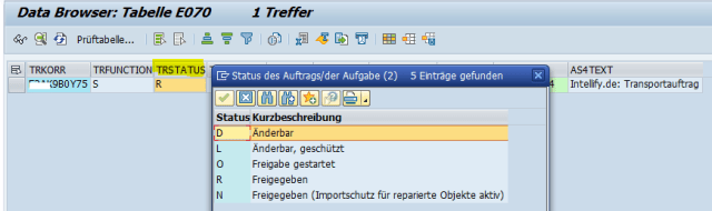 SAP Transportauftrag Freigabestatus: SAP Table E070 Transport Status