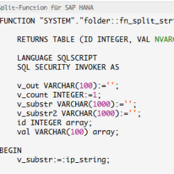 SQL Split Function SAP HANA