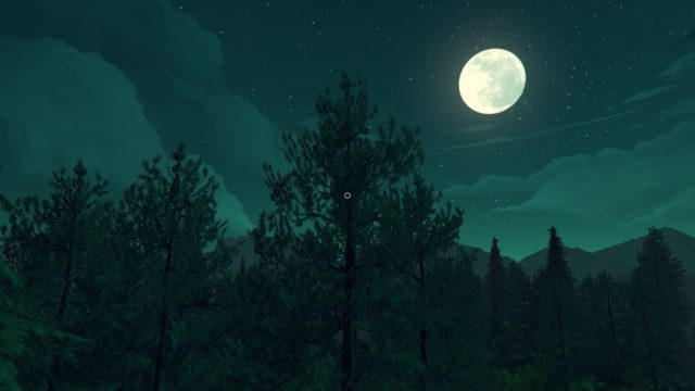 A forest lit by the moon, which hangs high in the sky.