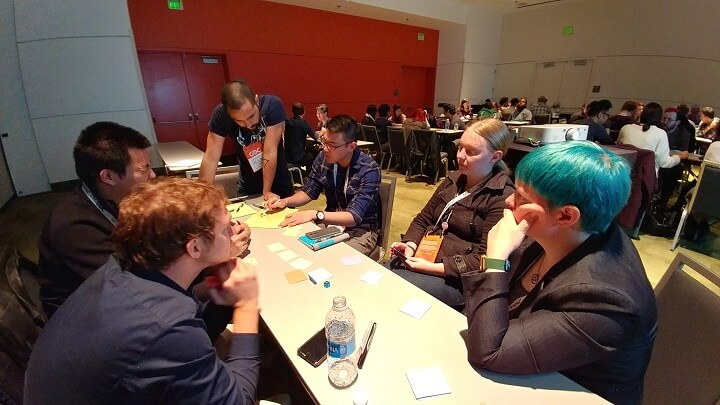 6 individuals sit around a table beginning discussion of their paper prototype game.