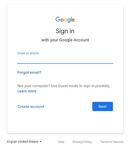 página de acceso