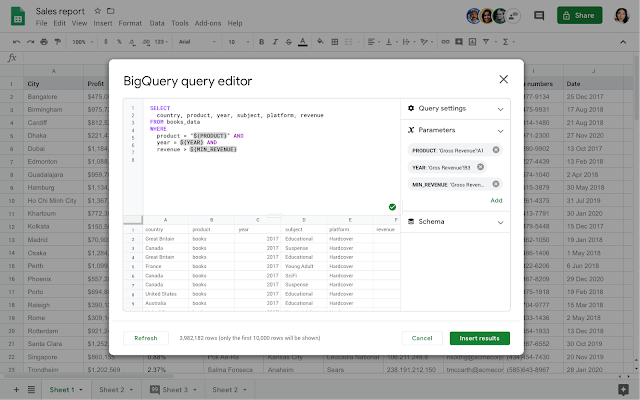 Analyze hefty data sets with BigQuery and Google Sheets