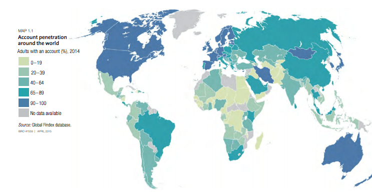 Account penetration around the world (source: World bank)